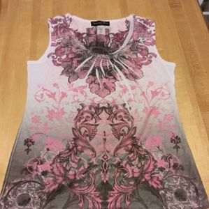 Womens Patterned Embellished Tank Size M (8-10)